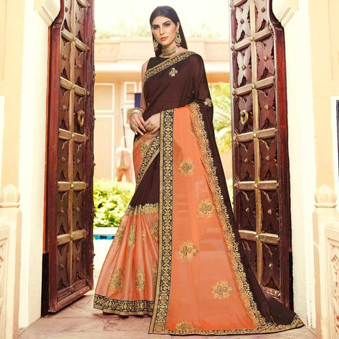 Flamboyant Brown-Peach Colored Partywear Embroidered Georgette Saree