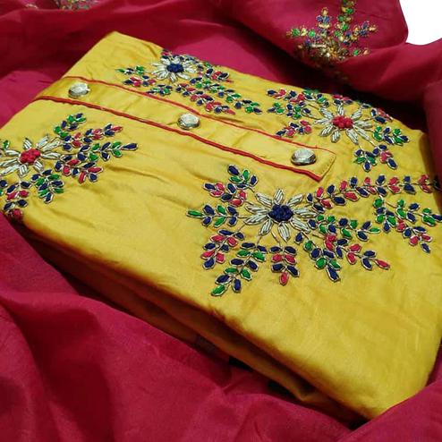 Capricious Yellow Colored Partywear Embroidered Cotton Dress Material