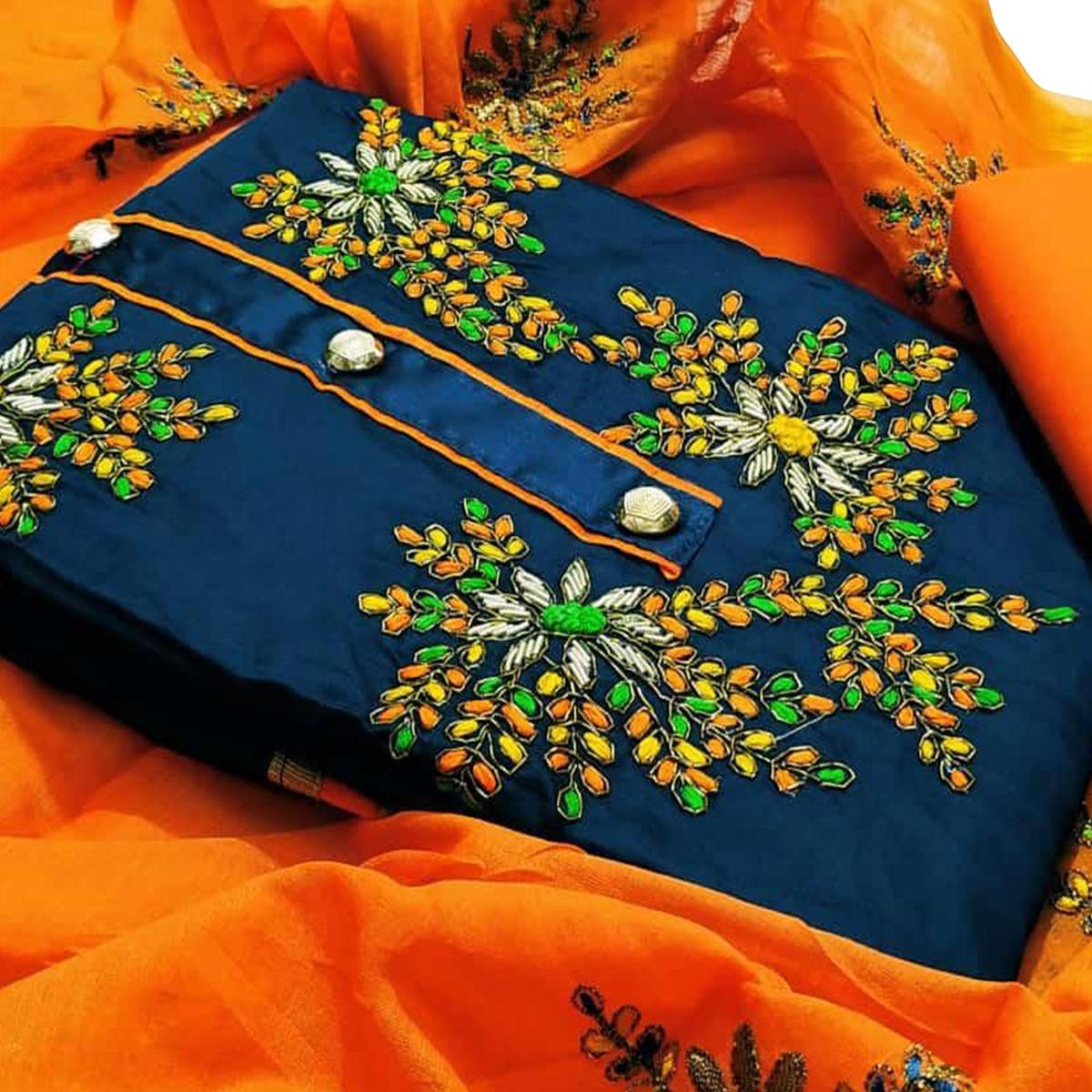 Entrancing Navy Blue Colored Partywear Embroidered Cotton Dress Material