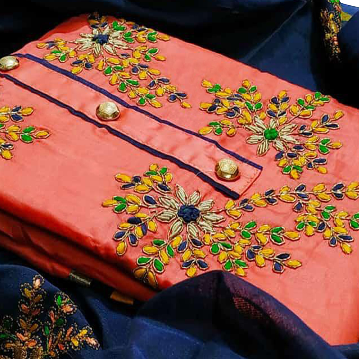 Groovy Peach Colored Partywear Embroidered Cotton Dress Material