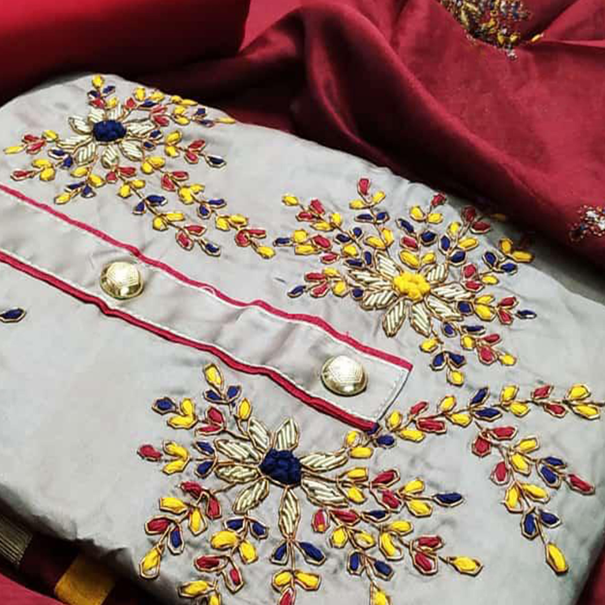 Prominent Grey Colored Partywear Embroidered Cotton Dress Material