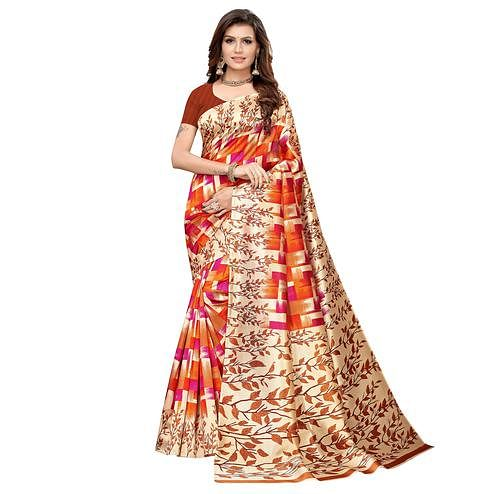 Adorable Brown-Multi Colored Casual Printed Art Silk Saree