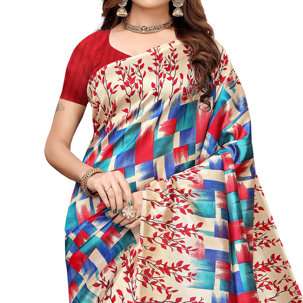 Glorious Red-Multi Colored Casual Printed Art Silk Saree