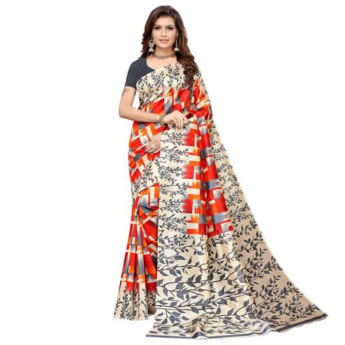 Attractive Gray-Multi Colored Casual Printed Art Silk Saree