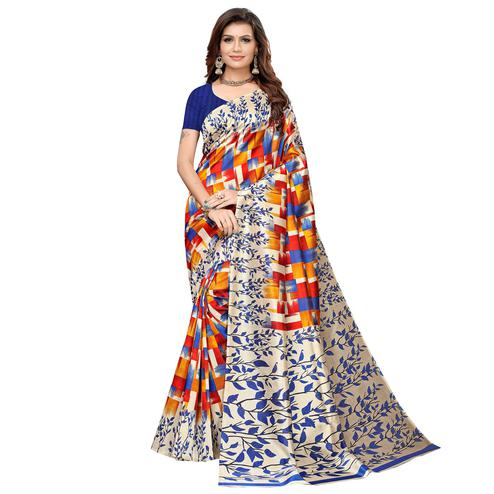 Beautiful Blue-Multi Colored Casual Printed Art Silk Saree