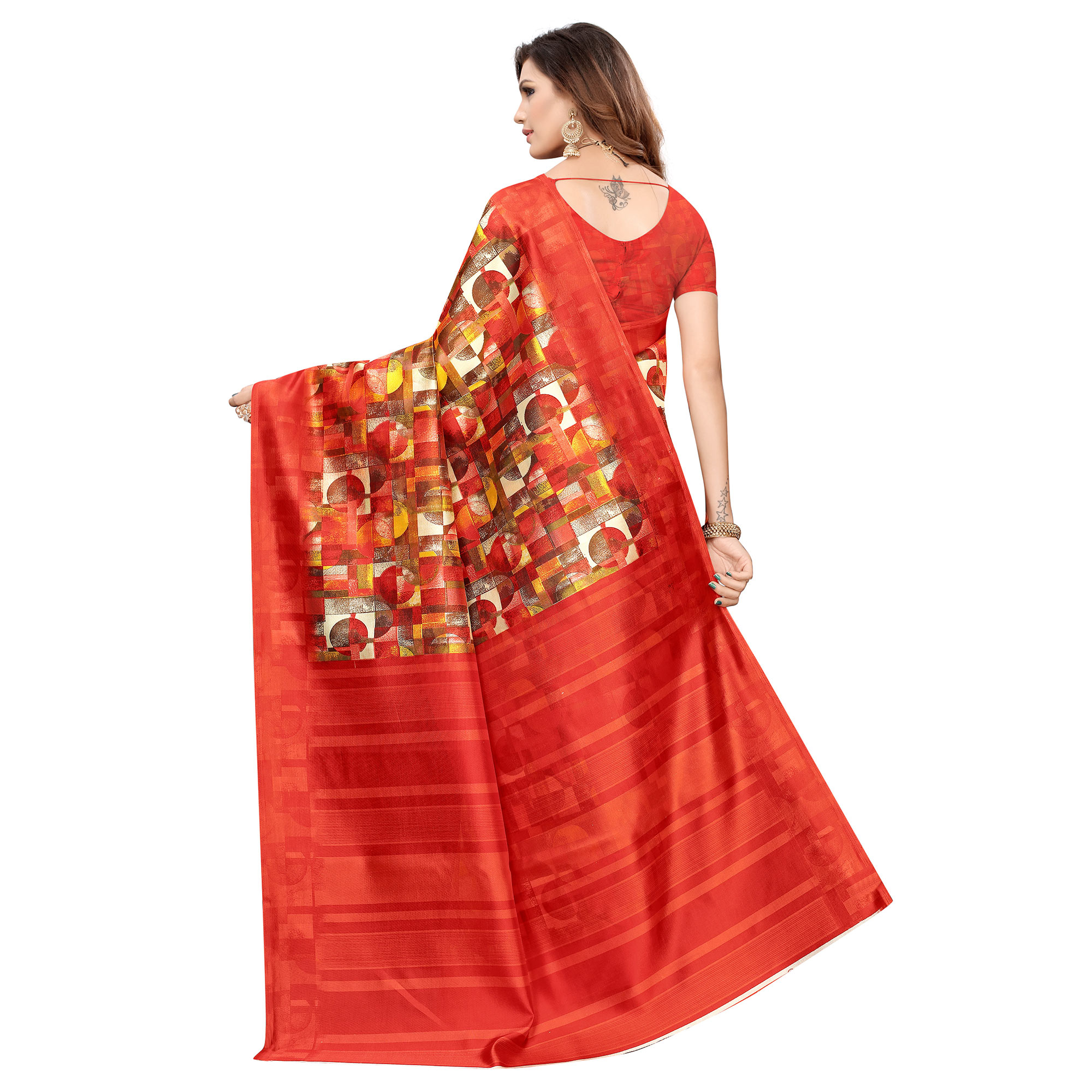 Graceful Red Colored Casual Printed Art Silk Saree