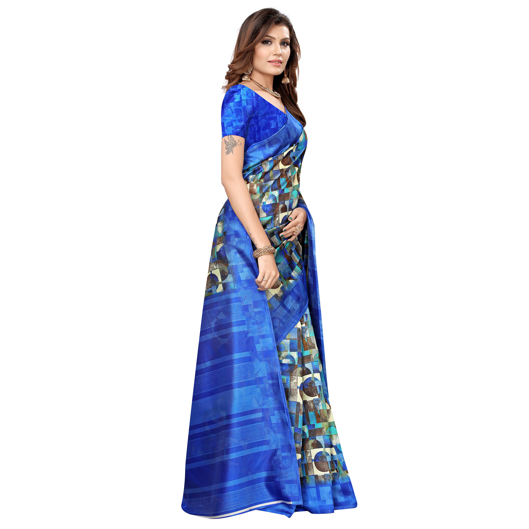 Blooming Blue Colored Casual Printed Art Silk Saree