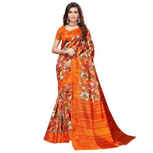 Charming Orange Colored Casual Printed Art Silk Saree