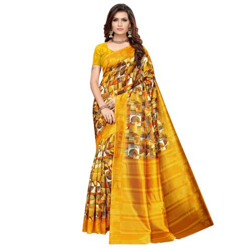 Jazzy Yellow Colored Casual Printed Art Silk Saree