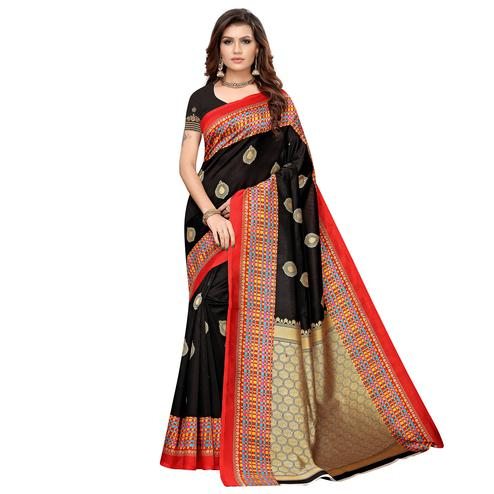 Delightful Black Colored Casual Printed Art Silk Saree