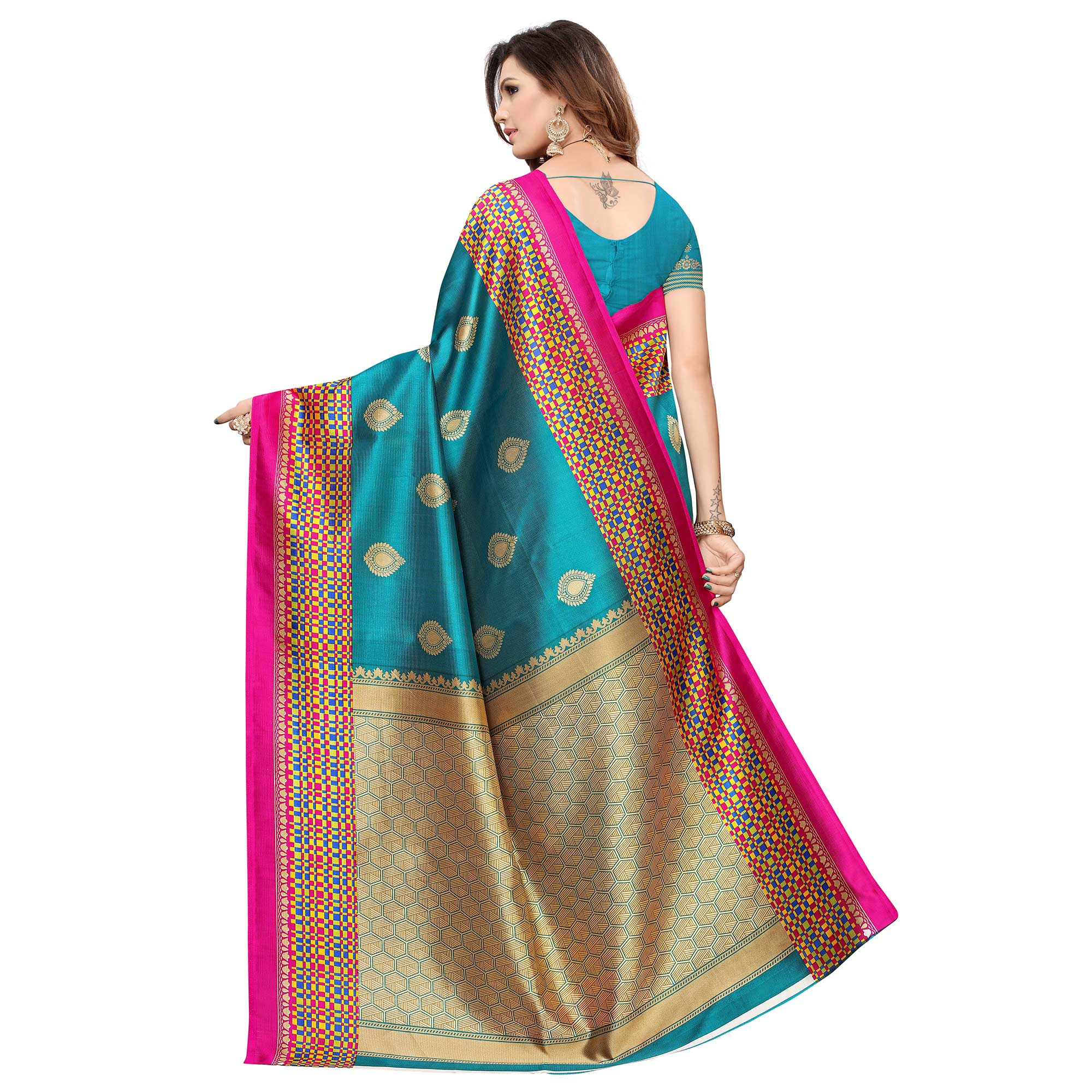 Engrossing Rama Blue Colored Casual Printed Art Silk Saree