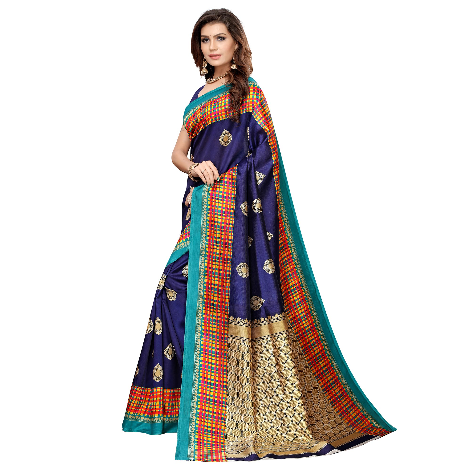 Innovative Navy Blue Colored Casual Printed Art Silk Saree