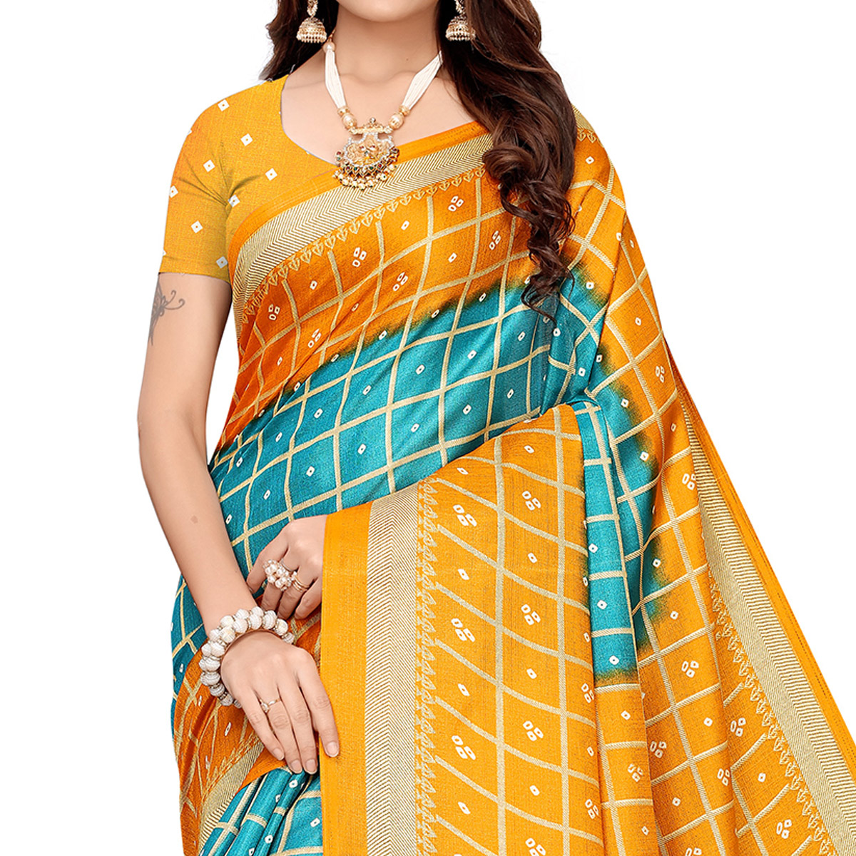 Eye-catching Blue Colored Casual Printed Khadi Silk Saree