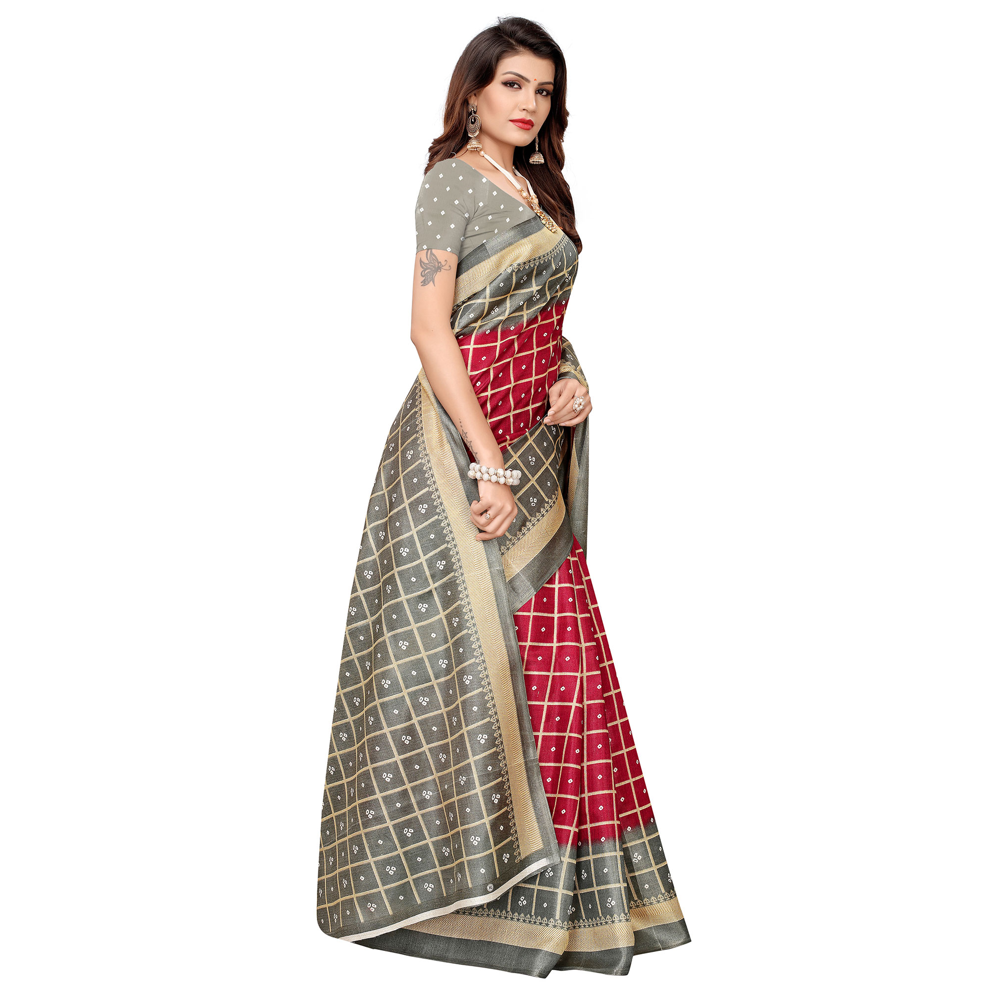 Fantastic Red Colored Casual Printed Khadi Silk Saree