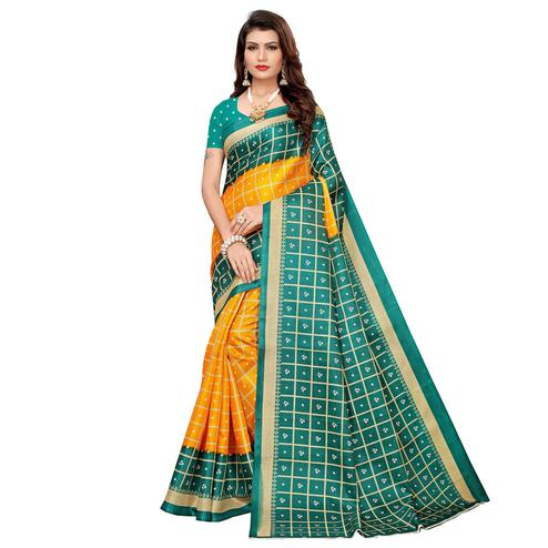 Amazing Yellow Colored Casual Printed Khadi Silk Saree