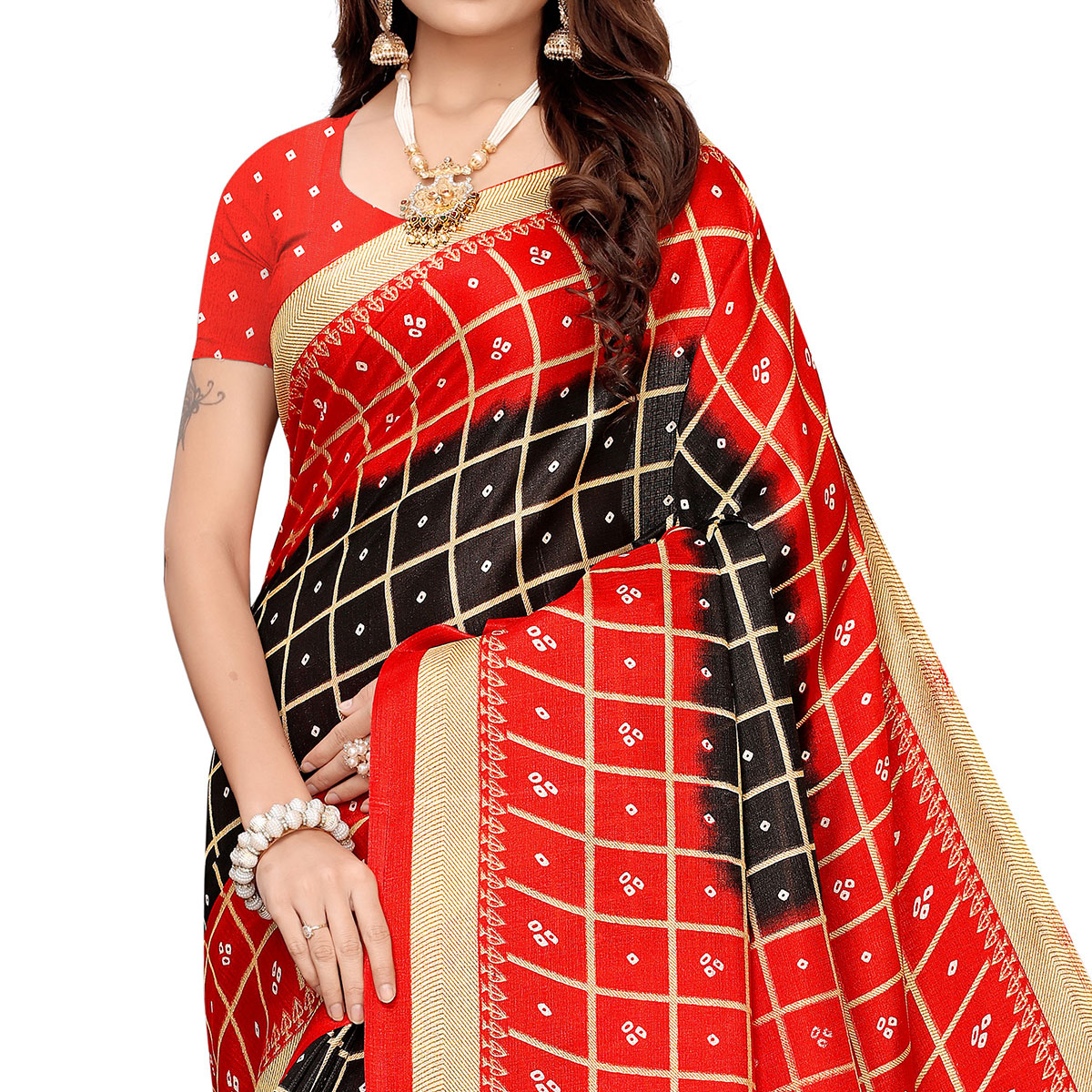Gorgeous Black Colored Casual Printed Khadi Silk Saree