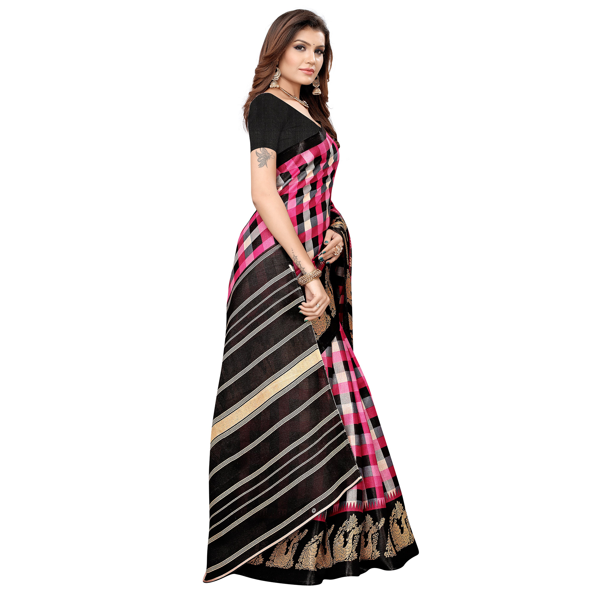 Blissful Pink-Black Colored Casual Printed Khadi Silk Saree