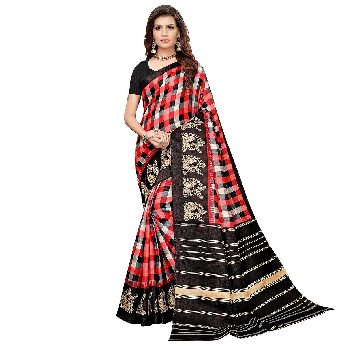 Lovely Red-Black Colored Casual Printed Khadi Silk Saree
