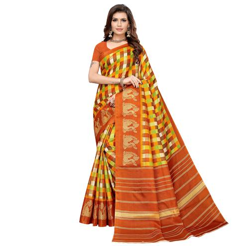 Majesty Orange Colored Casual Printed Khadi Silk Saree