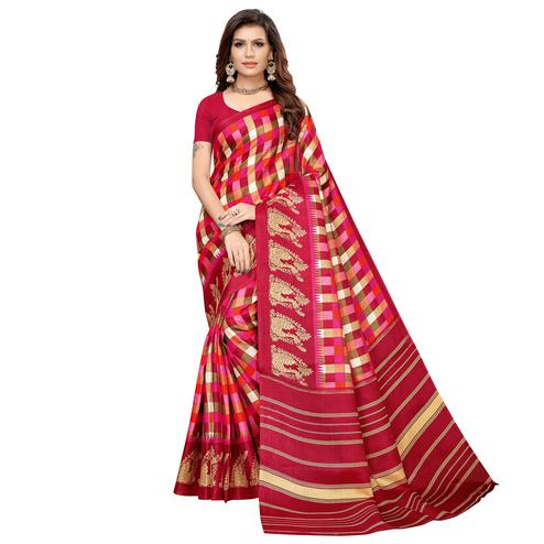 Impressive Pink Colored Casual Printed Khadi Silk Saree