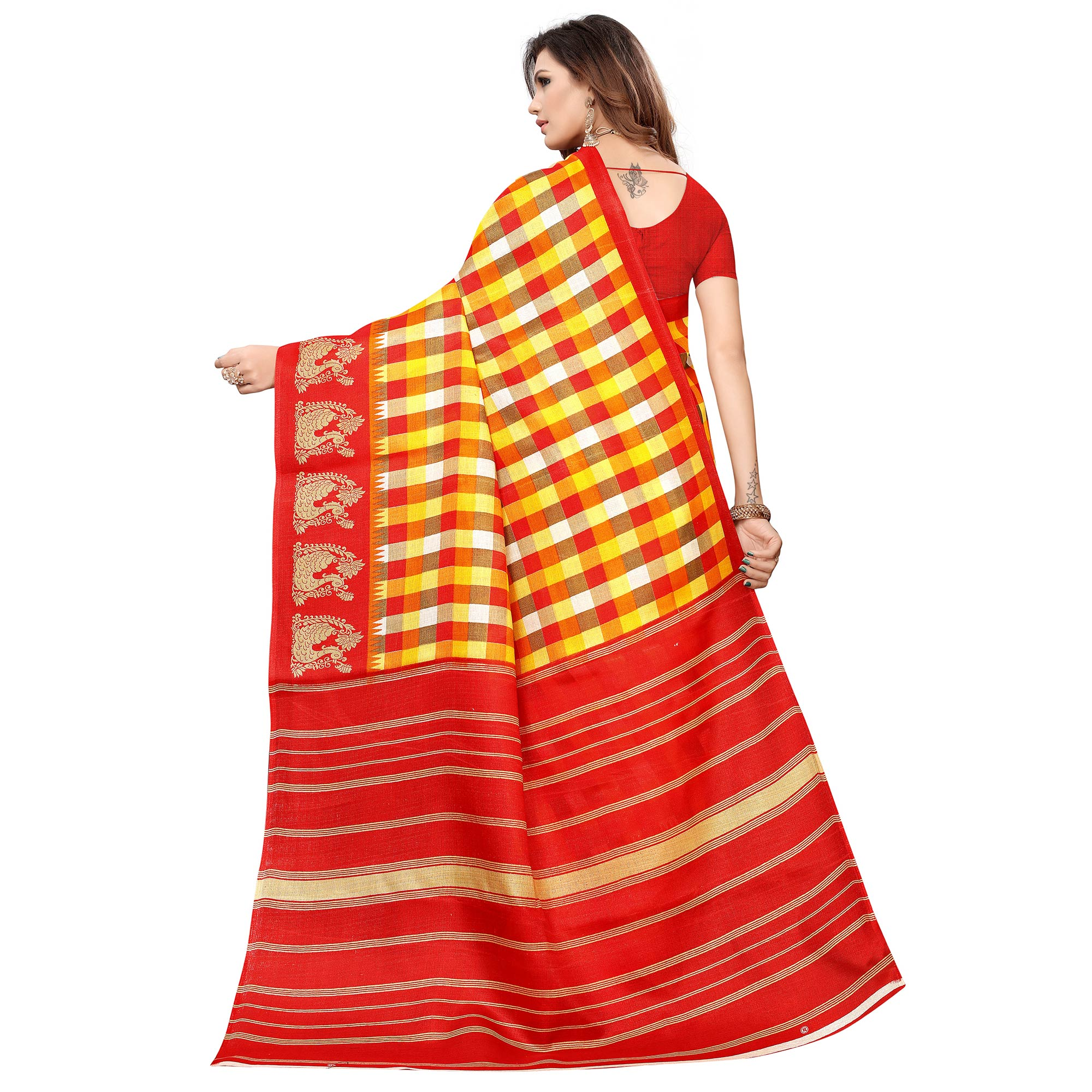 Mesmerising Yellow-Red Colored Casual Printed Khadi Silk Saree