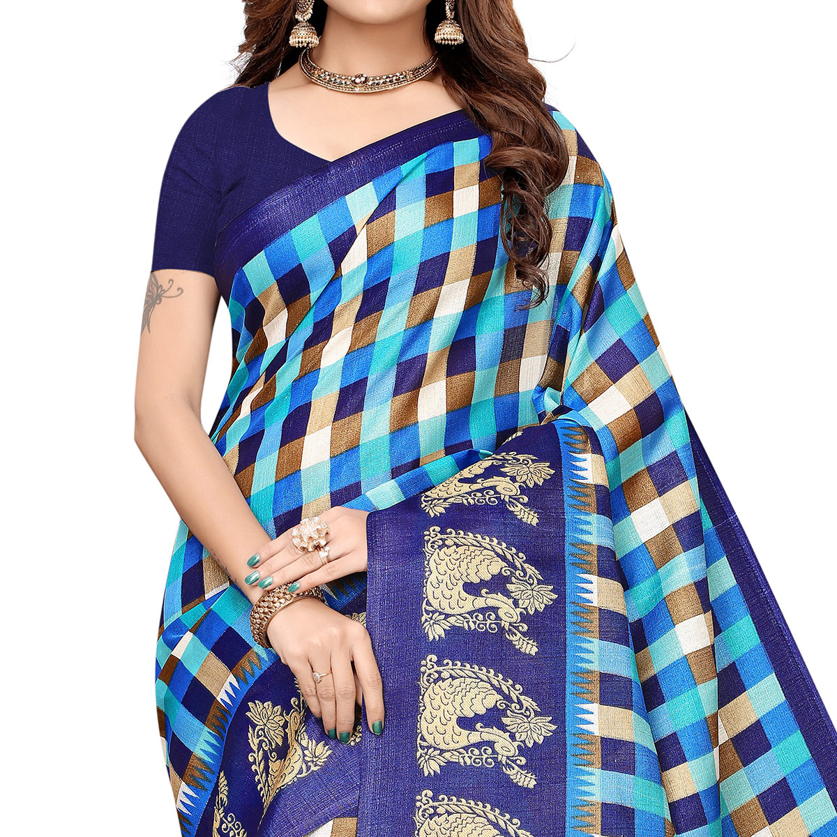 Pleasance Blue Colored Casual Printed Khadi Silk Saree