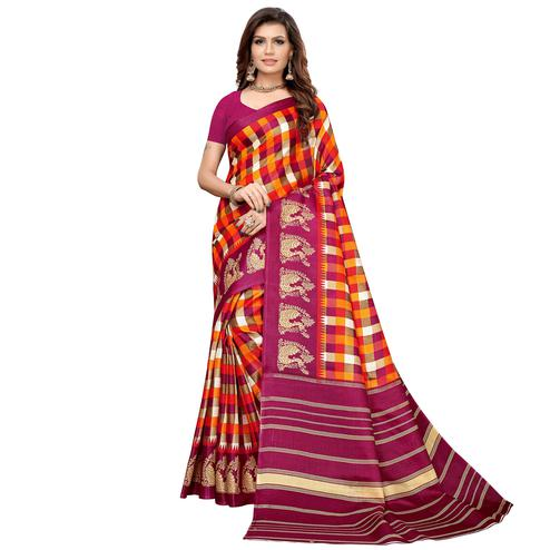 Breathtaking Magenta Pink-Multi Colored Casual Printed Khadi Silk Saree