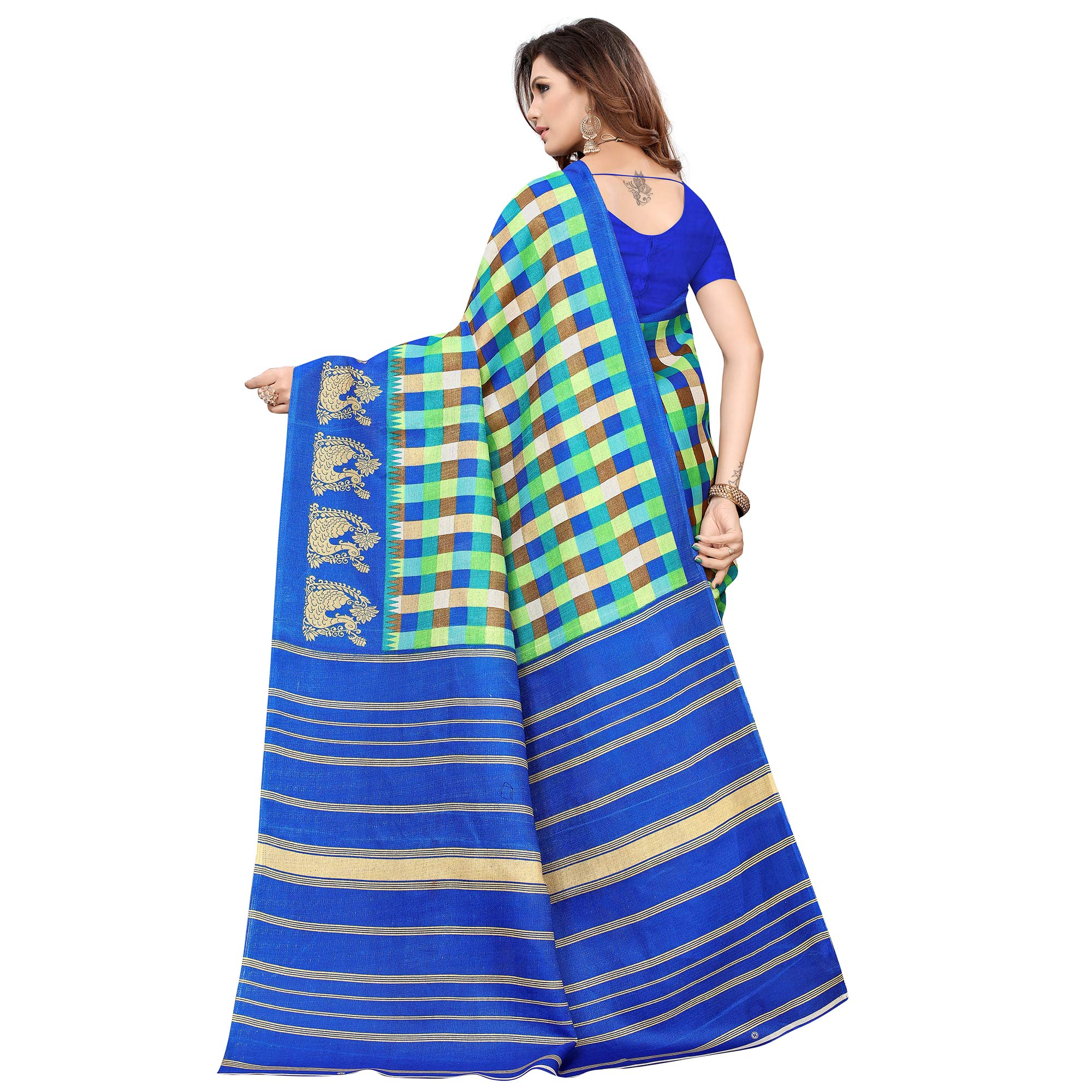 Ethnic Blue-Multi Colored Casual Printed Khadi Silk Saree