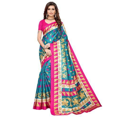 Ravishing Rama Blue Colored Casual Printed Khadi Silk Saree