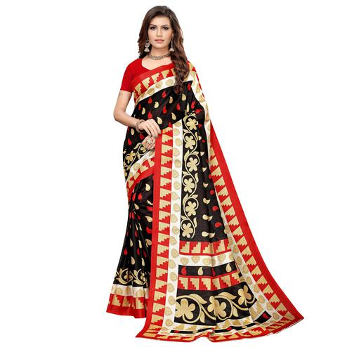 Staring Black Colored Casual Printed Khadi Silk Saree