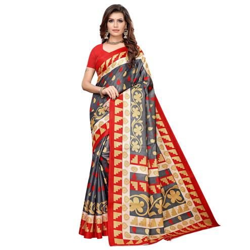 Dazzling Gray Colored Casual Printed Khadi Silk Saree