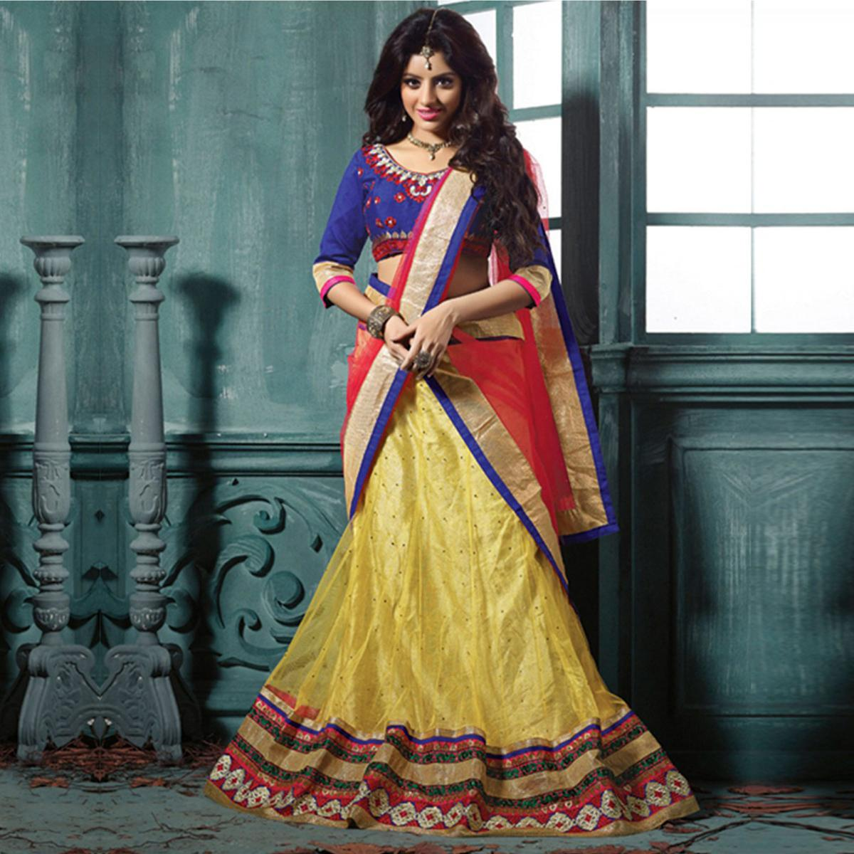 Yellow Embroidered Work Lehenga Choli