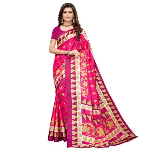 Surpassing Pink Colored Casual Printed Khadi Silk Saree