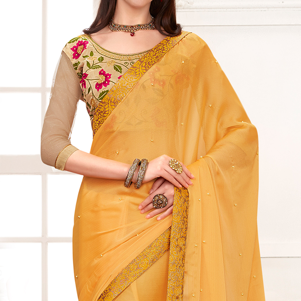 Fantastic Yellow Colored Partywear Embroidered Georgette Saree