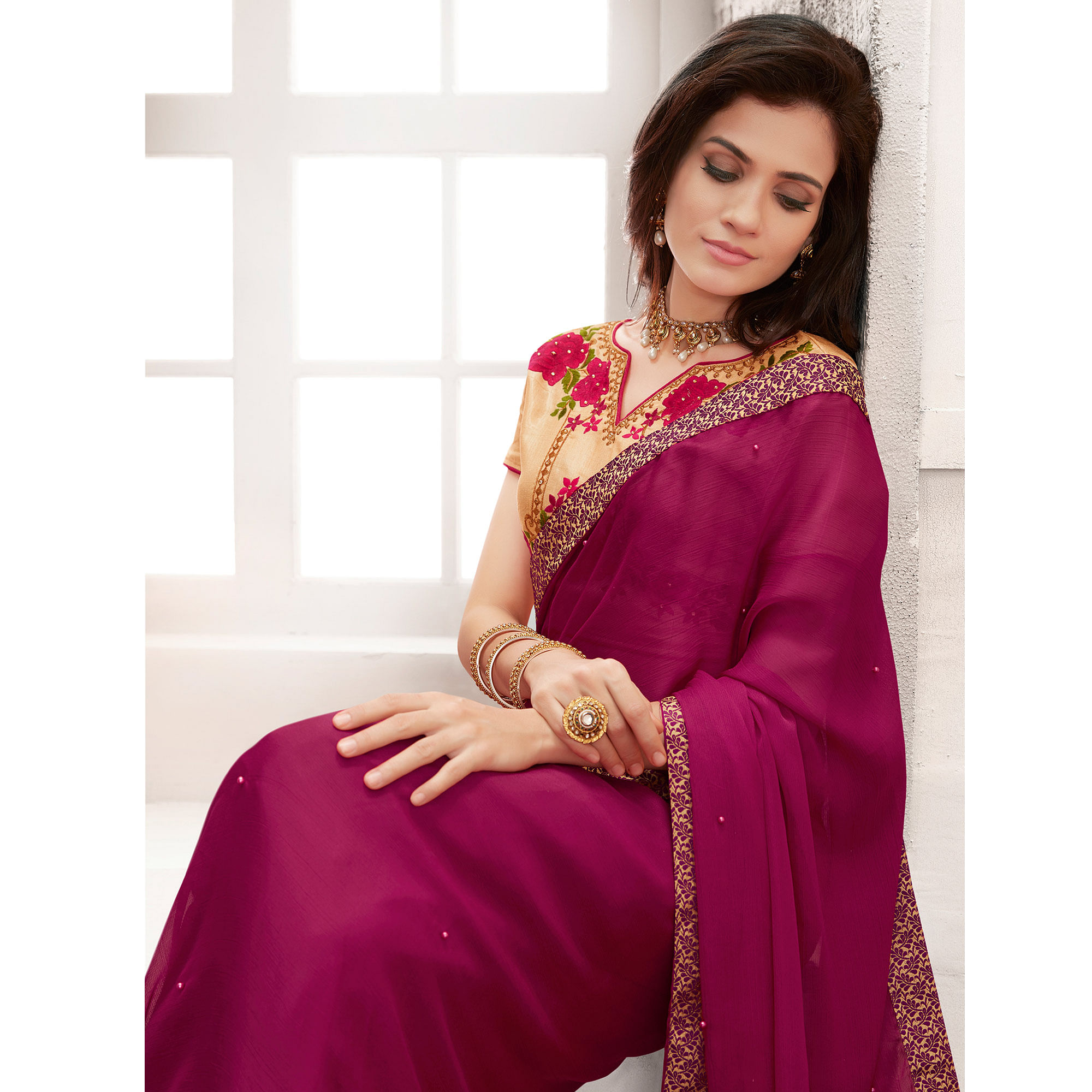 Amazing Magenta Pink Colored Partywear Embroidered Georgette Saree