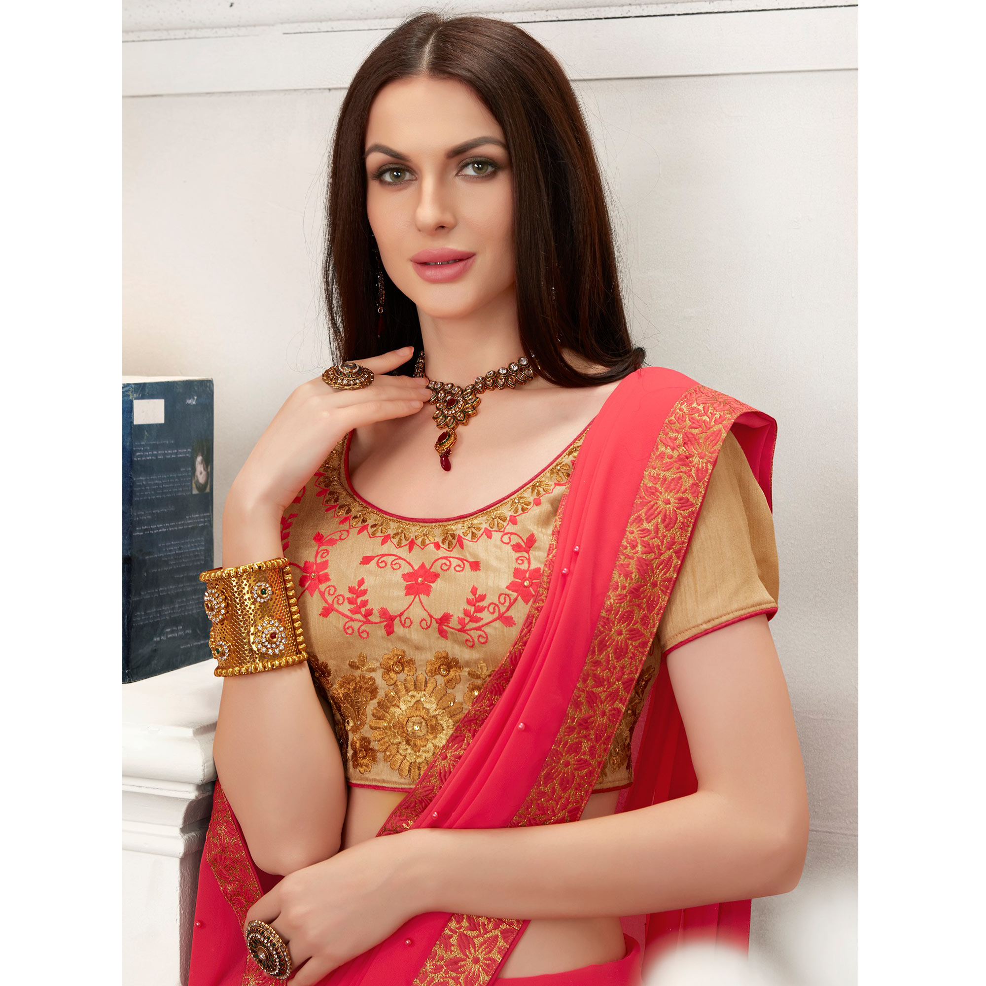 Mesmeric Coral Red Colored Partywear Embroidered Georgette Saree