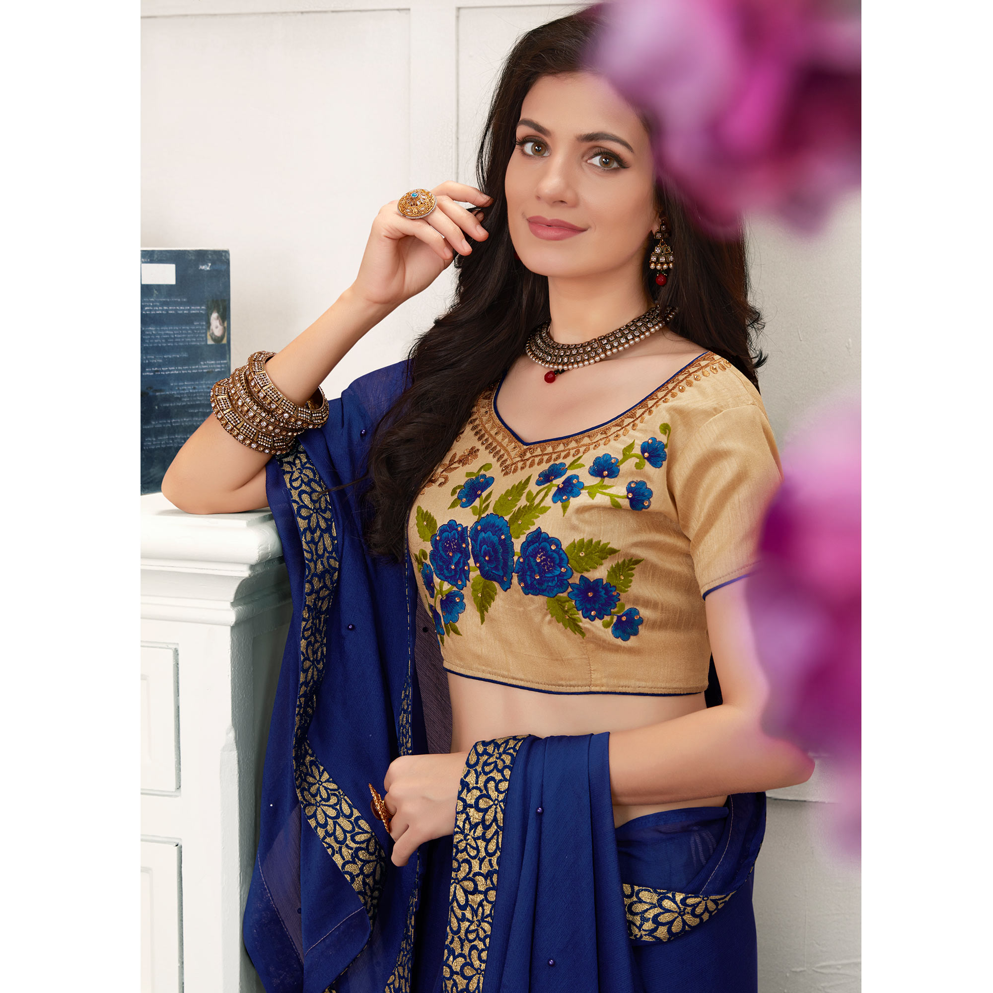 Flirty Navy Blue Colored Partywear Embroidered Georgette Saree