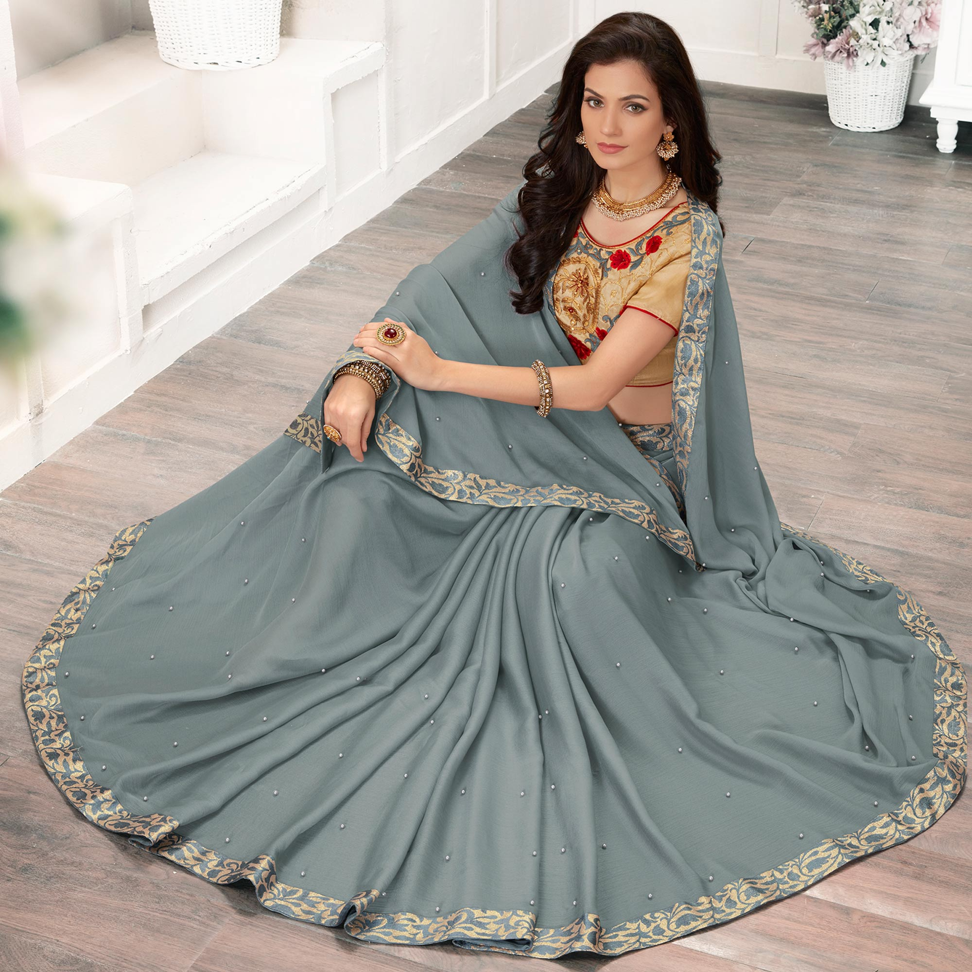 Alluring Grey Colored Partywear Embroidered Georgette Saree