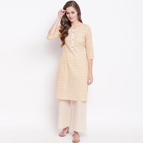 Glorious Beige Colored Casual Printed Cotton Kurti-Palazzo Set