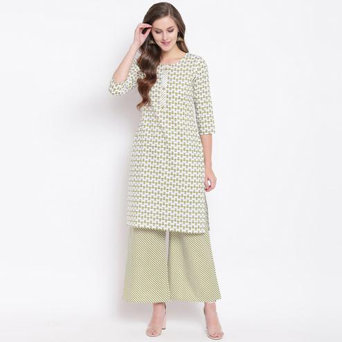 Attractive Green Colored Casual Printed Cotton Kurti-Palazzo Set