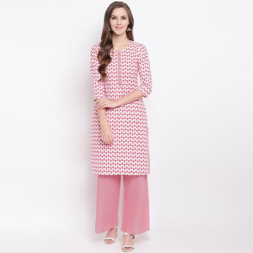 Beautiful Red Colored Casual Printed Cotton Kurti-Palazzo Set