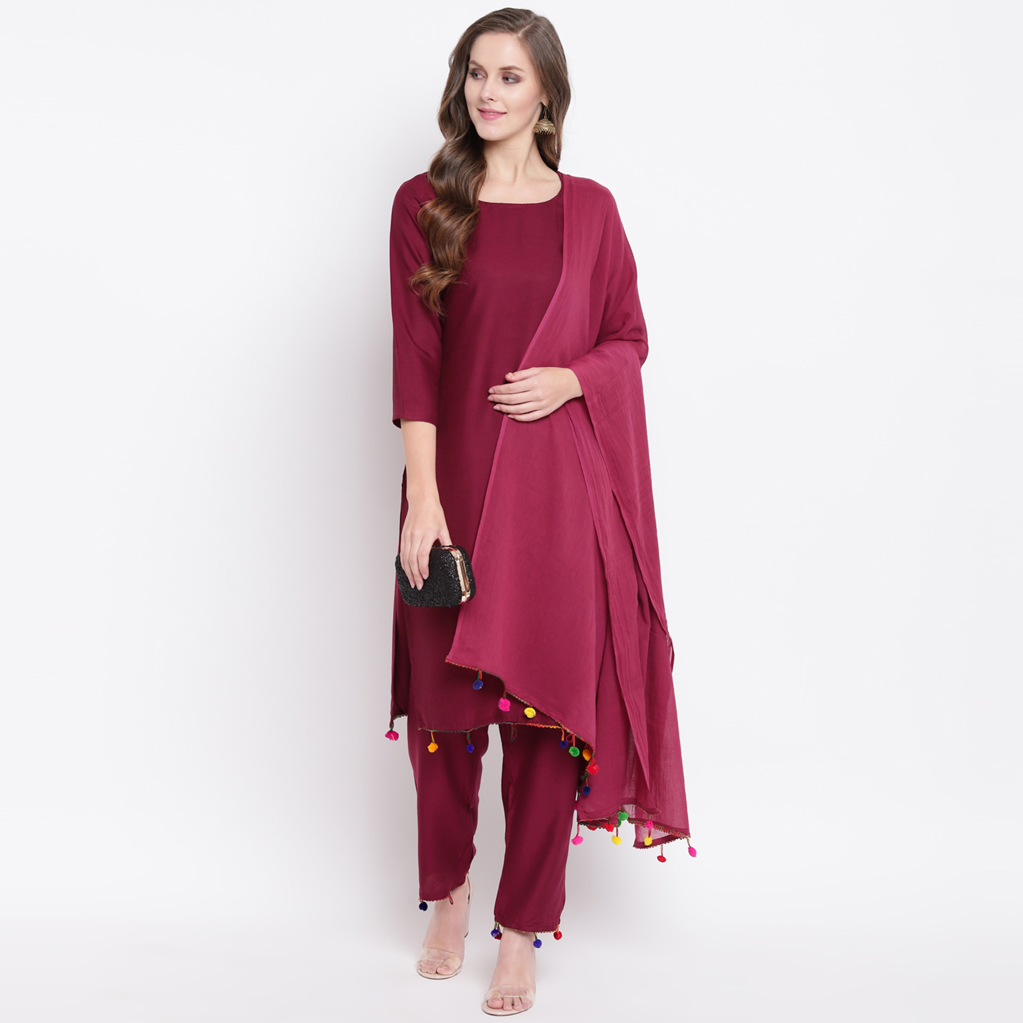 Graceful Maroon Colored Casual Wear Rayon Suit