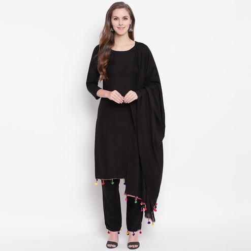 Blooming Black Colored Casual Wear Rayon Suit