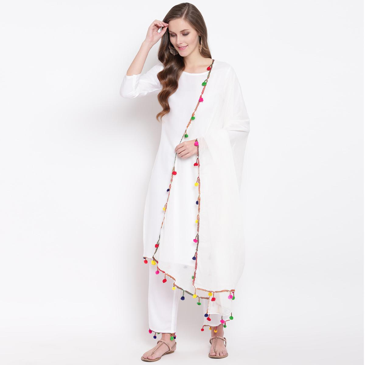 Charming White Colored Casual Wear Rayon Suit
