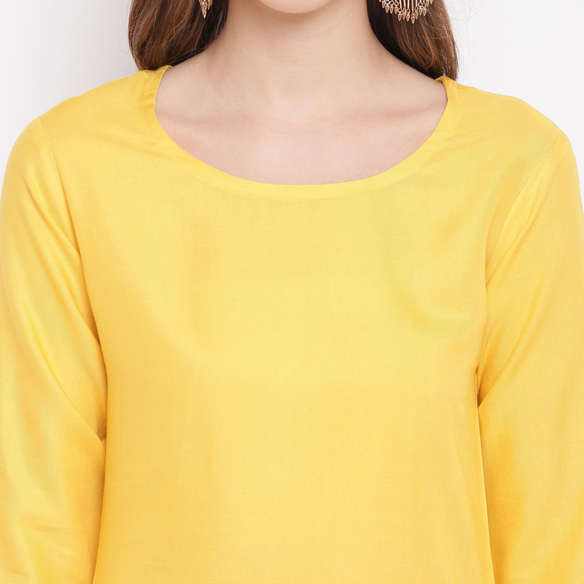 Jazzy Yellow Colored Casual Wear Rayon Suit