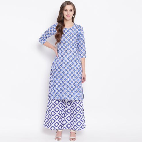 Delightful Blue Colored Casual Printed Cotton Kurti-Palazzo Set