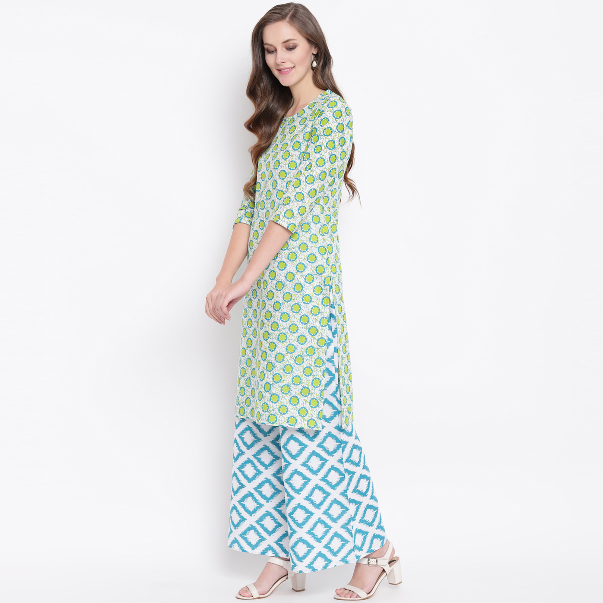 Engrossing Green Colored Casual Printed Cotton Kurti-Palazzo Set