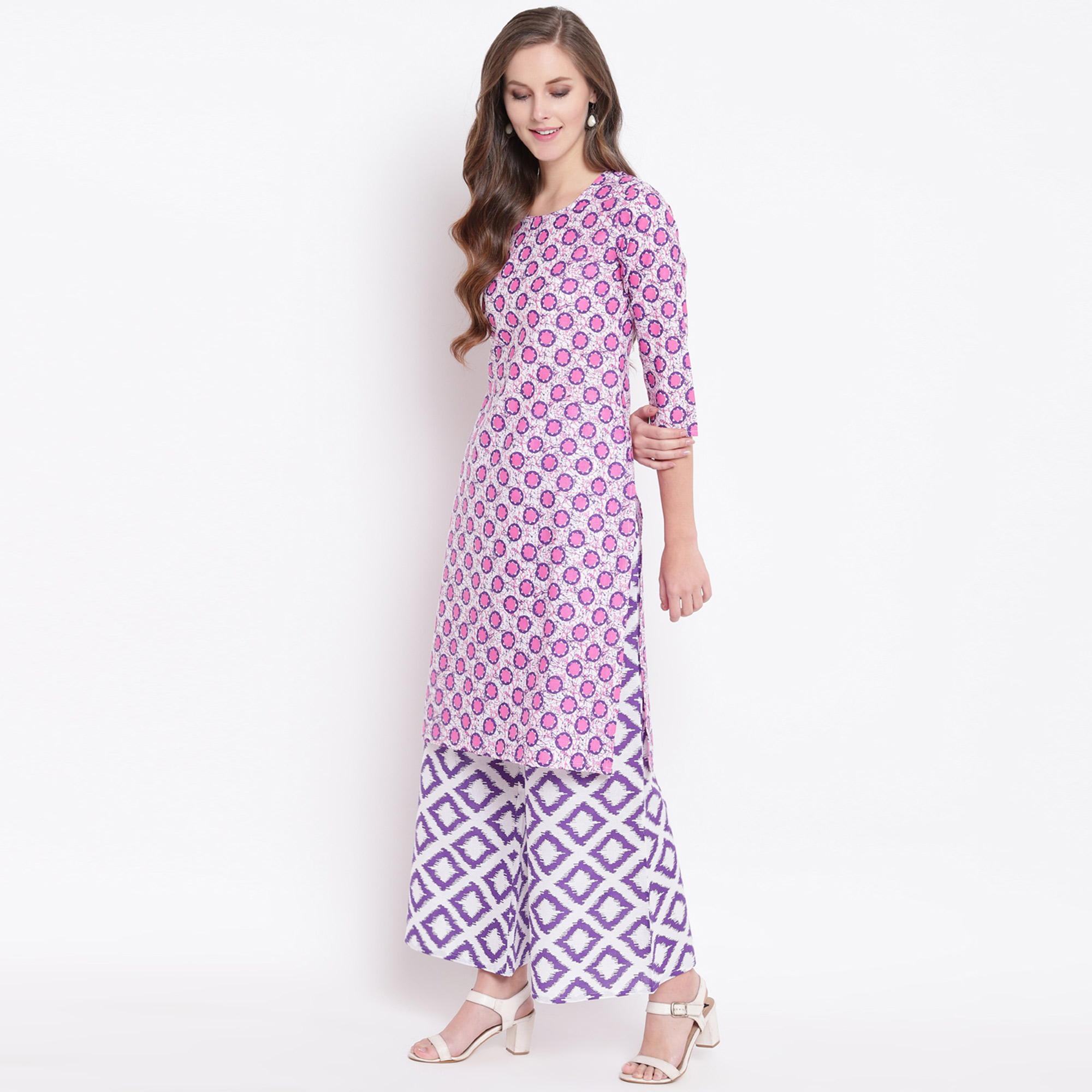 Innovative Pink Colored Casual Printed Cotton Kurti-Palazzo Set
