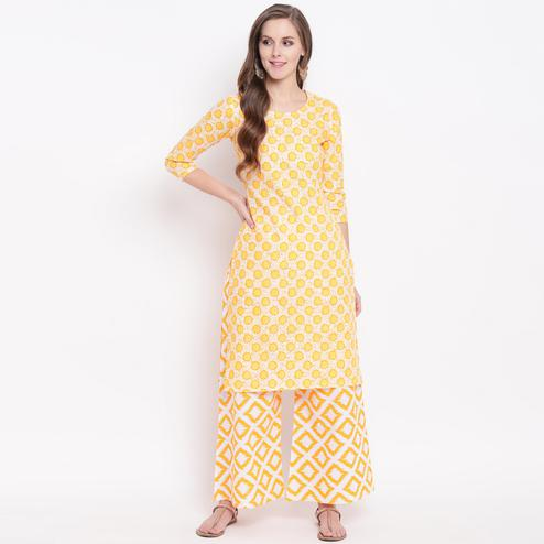 Eye-catching Yellow Colored Casual Printed Cotton Kurti-Palazzo Set