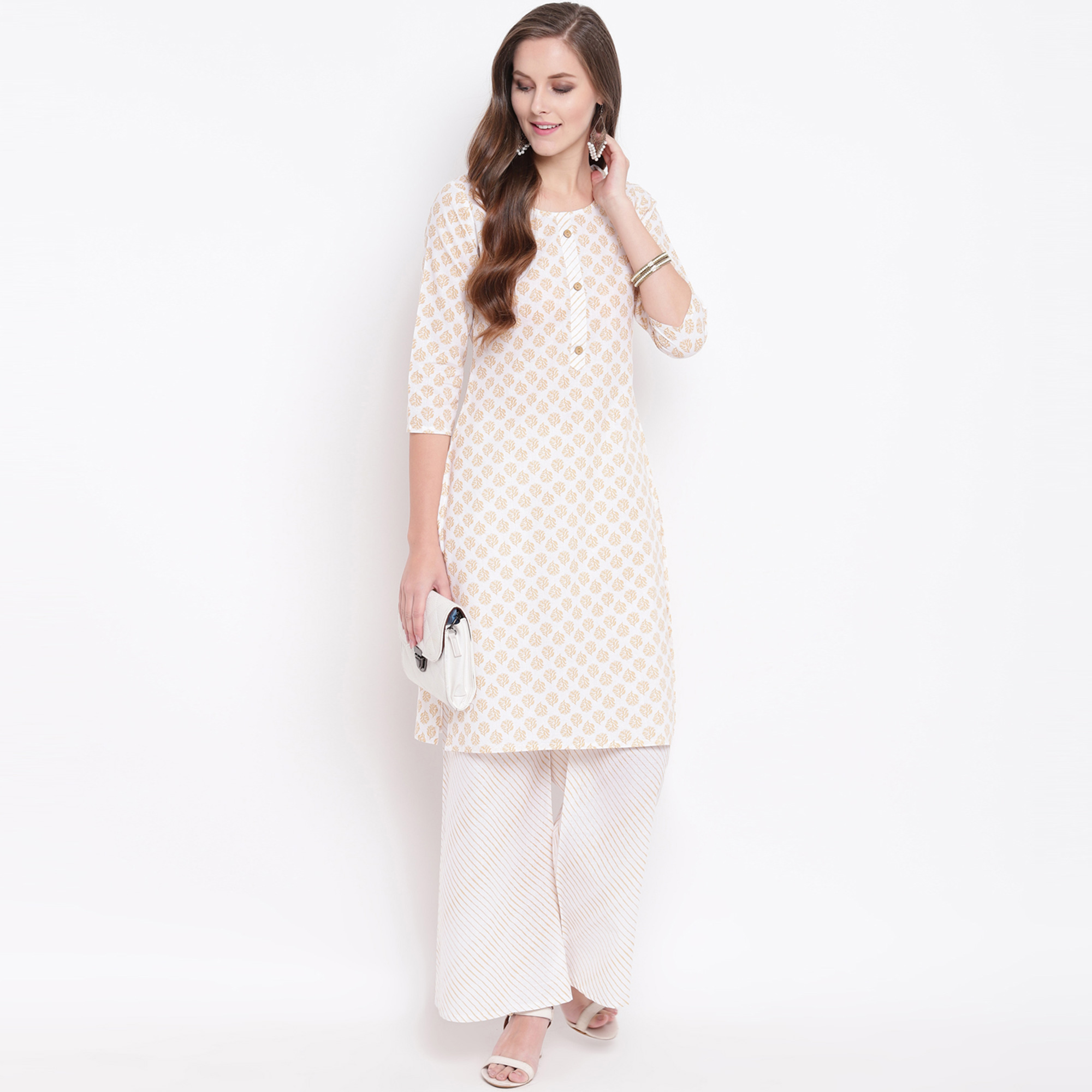 Fantastic Beige Colored Casual Printed Cotton Kurti-Palazzo Set